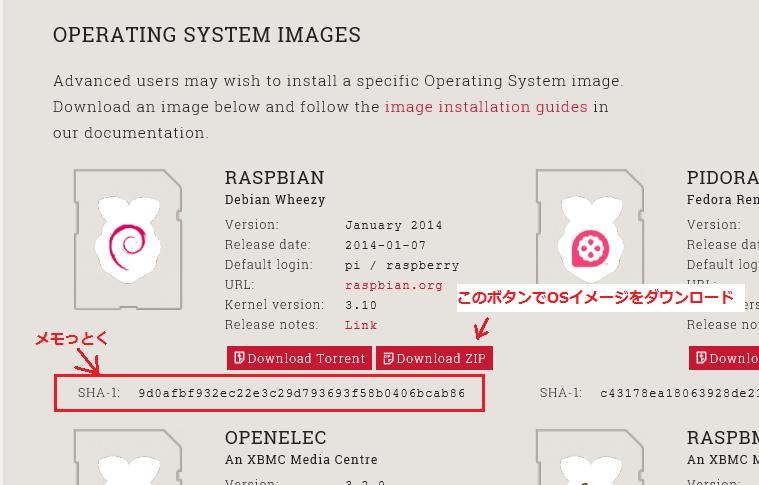 Raspbianダウンロード画面2
